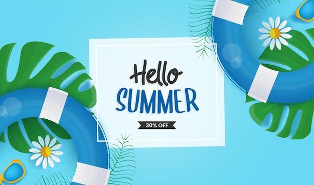 Bonjour typographie d'été en carte blanche avec une bouée de sauvetage et des feuilles et des fleurs tropicales