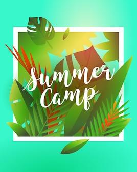 Bonjour vacances d'été et affiche de camp d'été affiche de fête de vacances avec feuille de palmier et lettrage été