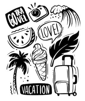 Bonjour vacances d'été noir doodle