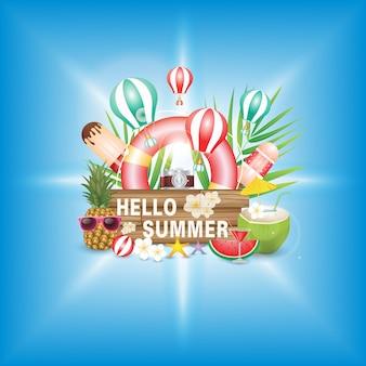 Bonjour vacances d'été, police sur la texture du bois. avec fleur et ballon de plage sur fond vert. plantes tropicales, flotteur, feuilles de palmier, crème glacée, ananas