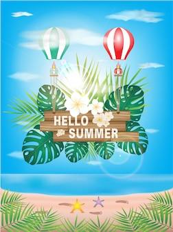 Bonjour vacances d'été, police sur la texture du bois. avec fleur sur fond bleu océan.