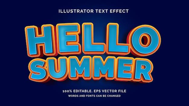 Bonjour vecteur de style d'effet de texte d'été