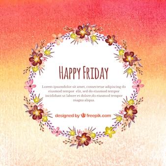 Bonjour vendredi avec un cadre floral