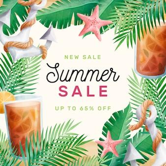 Bonjour vente d'été aquarelle et ancre