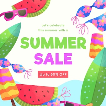 Bonjour vente d'été aquarelle avec pastèque