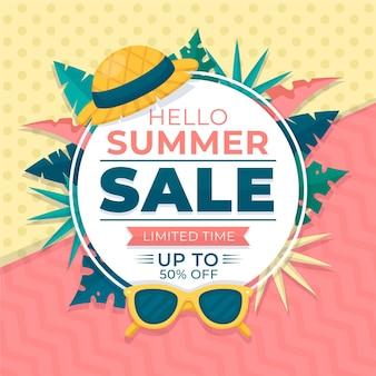 Bonjour vente d'été au design plat