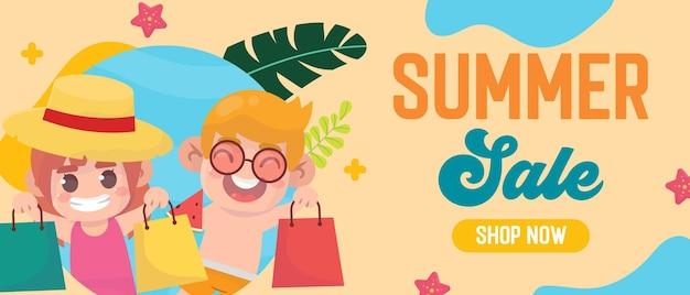 Bonjour vente d'été avec des enfants heureux