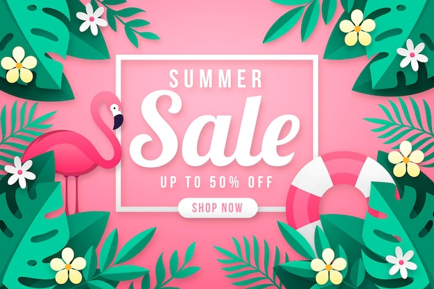Bonjour vente d'été avec feuilles et flamant rose