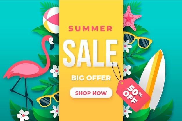 Bonjour vente d'été avec flamant rose et lunettes de soleil
