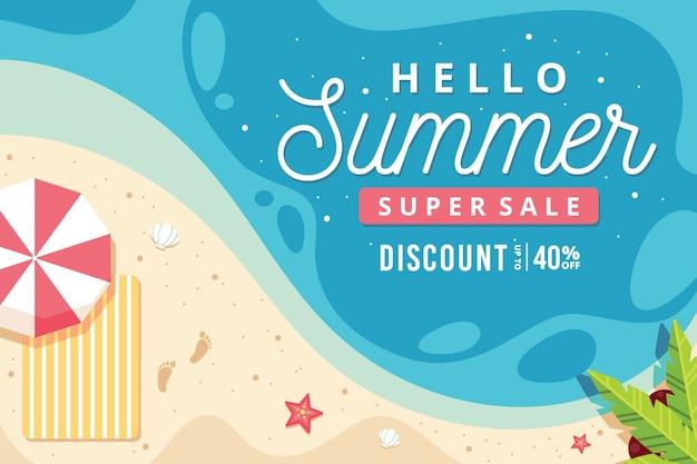 Bonjour vente d'été avec plage