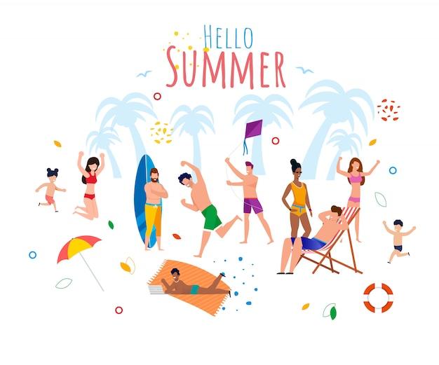 Bonjour les voeux d'été avec des personnes au repos