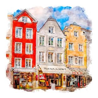 Bonn allemagne croquis aquarelle illustration dessinée à la main