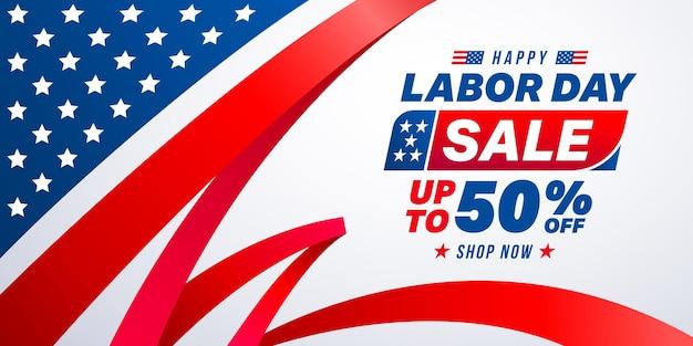 Bonne affiche de vente de la fête du travailcélébration de la fête du travail des états-unis avec ruban rouge