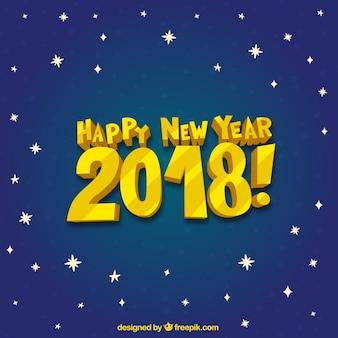 Bonne année 2018 sur un ciel étoilé