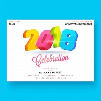 Bonne année 2018 conception d'affiche de partie.
