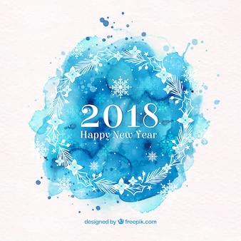 Bonne année 2018 en aquarelle bleue