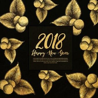 Bonne année 2018 fond doré avec le style de l'éclosion