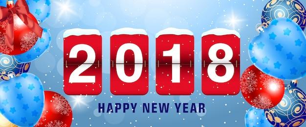 Bonne année 2018 lettrage sur le tableau de bord