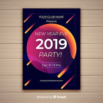 Bonne année 2019 affiche avec des comètes