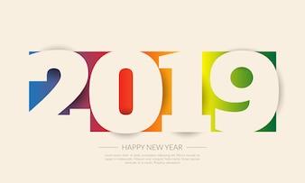 Bonne année 2019. Carte de voeux. Design coloré