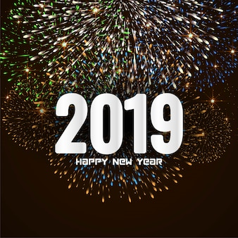 Bonne année 2019 fond de feu d'artifice de salutation élégante