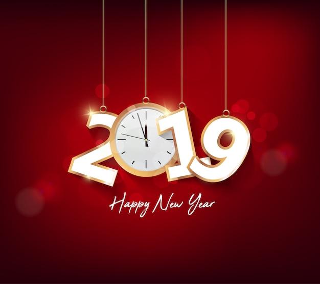 Bonne année 2019 avec fond de feux d'artifice. nouvel an chienese, année du cochon.