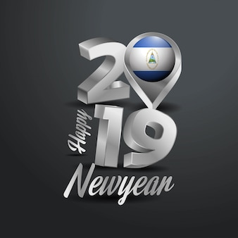 Bonne année 2019 typographie grise
