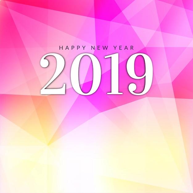 Bonne année 2019 voeux fond rose