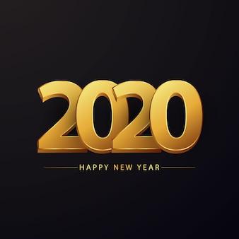 Bonne année 2020 carte de voeux avec beau nombre d'or