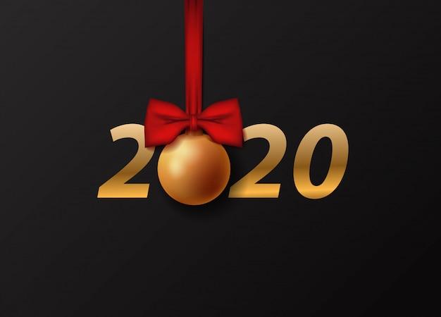 Bonne année 2020 carte de voeux.