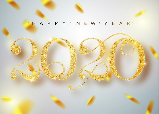 Bonne année 2020. chiffres métalliques dorés de vacances 2020. signe réaliste. affiche ou bannière de fête