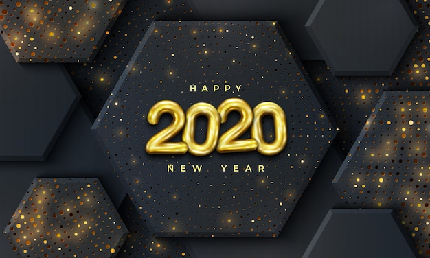 Bonne année 2020 avec une combinaison de points brillants.
