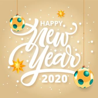 Bonne année 2020 concept avec lettrage