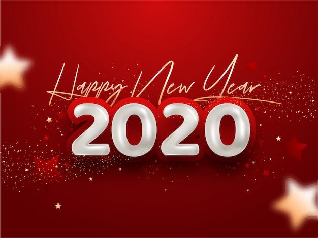 Bonne année 2020 avec des confettis sur rouge
