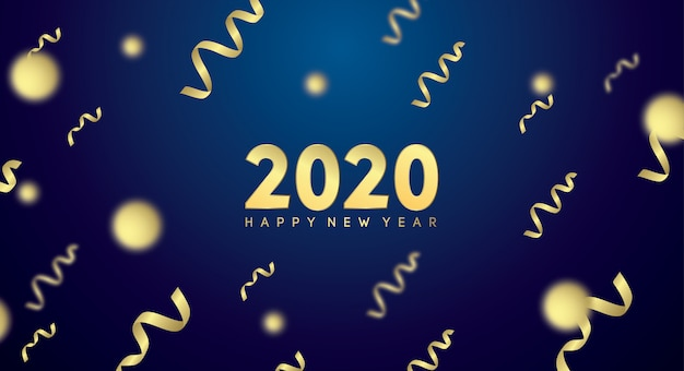 Bonne année 2020 avec effet doré en bleu foncé