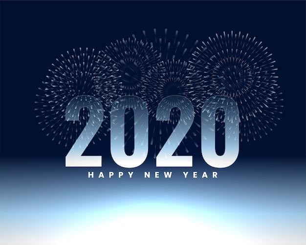 Bonne année 2020 fond de bannière de feu d'artifice