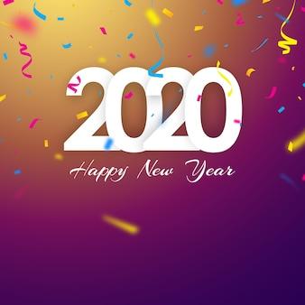 Bonne année 2020, fond de couleurs vives orné de beaux confettis.