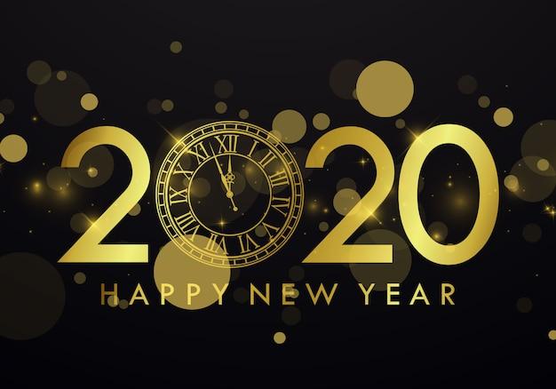 Bonne année 2020 fond avec horloge