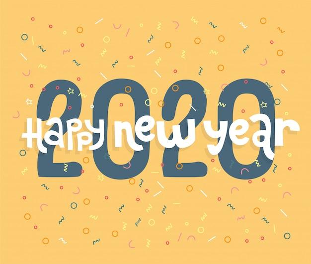 Bonne année 2020 inscription avec ballons de célébration et confettis, conception de carte de voeux de vacances typographique.
