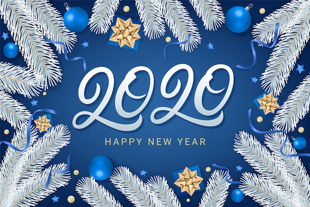 Bonne année 2020 lettrage carte de voeux texte