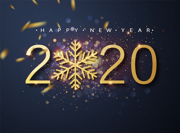 Bonne année 2020. motif de vacances en métal doré de 2020 et de paillettes scintillantes. salutations de noël