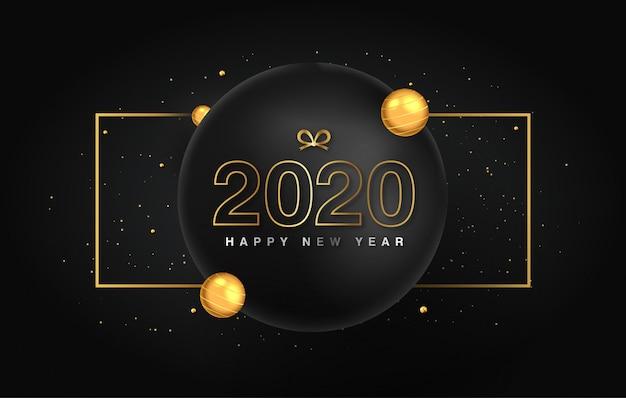 Bonne année 2020, texte d'or élégant avec lumière