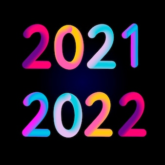 Bonne année 2021 2022 design design moderne 3d pour calendrier, invitations, cartes de voeux, flyers de vacances ou impressions.