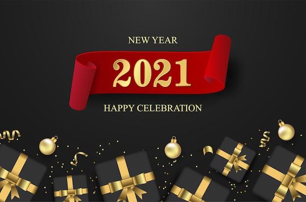 Bonne année 2021 avec boîte-cadeau ouverte et ballon sur fond noir.