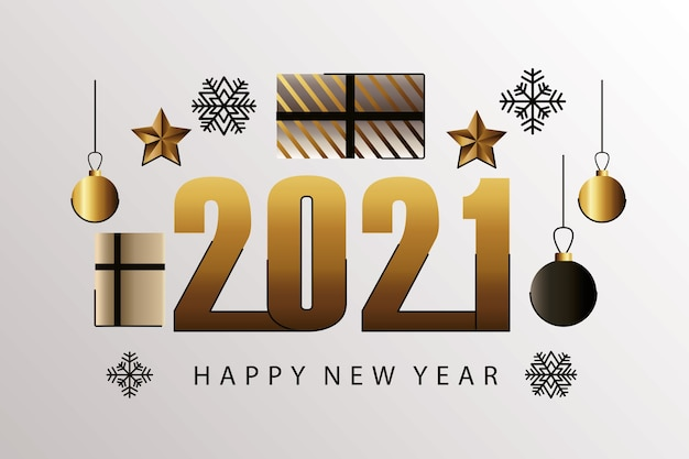 Bonne année 2021 carte dorée avec illustration de cadeaux et de boules