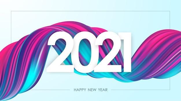 Bonne année 2021. carte de voeux avec forme de trait de peinture acrylique torsadée de couleur néon. design tendance