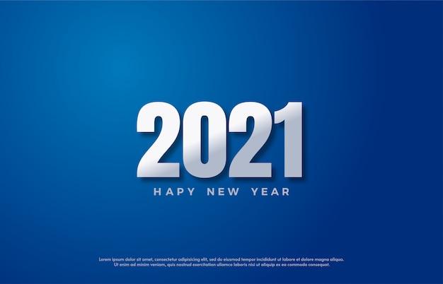 Bonne année 2021 avec des chiffres blancs brillants sur fond bleu.