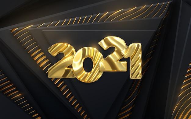 Bonne année 2021. chiffres d'or 2021 avec motif sculpté ondulé.