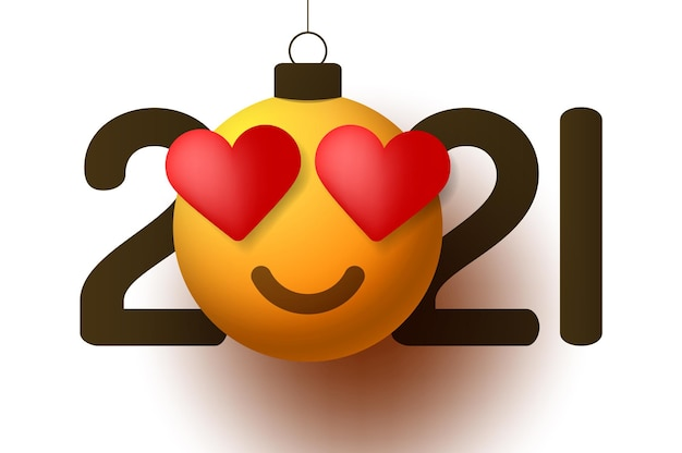 Bonne année 2021 avec coeur sourire émotion