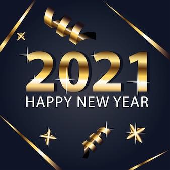 Bonne année 2021 et conception de style or confettis, bienvenue, célébrer et saluer